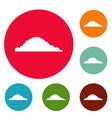 cloudy icons circle set vector image vector image