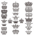 collection of royal crowns for design vector image vector image