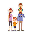 Colorful image caricature family parents with boy