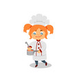 cute kid cooking soup or sauce funny little girl vector image vector image