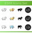 domestic and wild animals icons set vector image