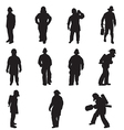 firefighter silhouettes vector image vector image