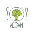 Fresh Vegan Food Promotional Sign With Broccoli On vector image vector image