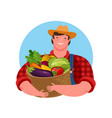 fresh vegetables food logo agriculture cartoon vector image vector image