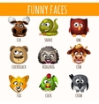 Funny faces of animals vector image
