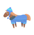 happy horse in sweater and hat vector image vector image