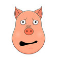 head of afraid pig in cartoon style kawaii animal vector image vector image