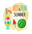 hot and fun summer watermelon and ice cocktails vector image vector image