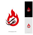 hot steak logo with flame fork and knife shape vector image vector image