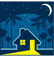 house at night in an environment of stars and moon vector image