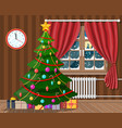 interior of room with christmas tree and gifts vector image