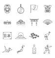 Japan icons set outline style vector image vector image