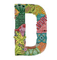 letter d zentangle decorative object vector image