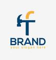 letter f hammer logo flat design vector image vector image