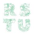letters r s t u pattern logo farm fresh fruits vector image vector image