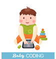 little boy learning coding on tablet vector image
