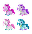 little cute cartoon horses set pony princess toys vector image