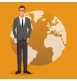 man business work employee globe yellow background vector image