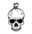money bag from skull shape design element vector image