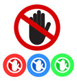 no entry sign stop palm hand icon in crossed out vector image