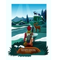 Nothern Landscape Nature Hunting Poster Print vector image vector image