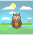 owl in cartoon flat style on the background of vector image