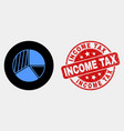 pie chart icon and distress income tax seal vector image vector image