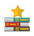 pile of library books with star isolated icon vector image