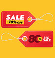 realistic discount red tags isolated on yellow vector image