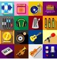 Recording studio symbols icons set flat style vector image vector image