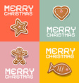 Retro Christmas Heart Fish Star and Gingerbread