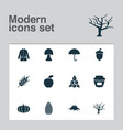season icons set with tree oak nut stump and vector image vector image