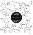 set animals in hand drawn minimalism style vector image