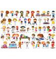 set doodle kids character vector image vector image