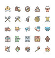set firefighter color line icons fireman vector image