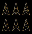 set of graphic stylized christmas trees on black vector image