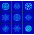 Set of Magic Blue Glow Mandalas vector image