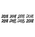 set of new year 2018 calligraphy numbers vector image vector image