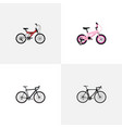 set of realistic symbols with exercise ridin vector image
