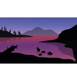 Silhouette of pier and mountain in sea vector image vector image
