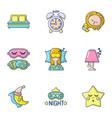 slumber icons set cartoon style vector image