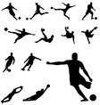 soccer silhouettes set vector image vector image