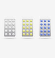 tablets in blister packs of different colors vector image vector image