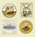 vintage american rum wine whiskey beer badge vector image vector image