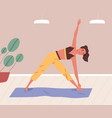 young woman training or practising yoga at home vector image vector image