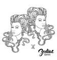 zodiac of gemini as girl vector image vector image
