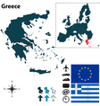 Greece and European Union map vector image
