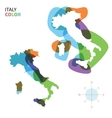 Abstract color map of Italy with vector image