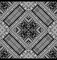 black and white ethnic patchwork design vector image vector image