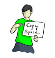 boy holding blank sign sketch vector image